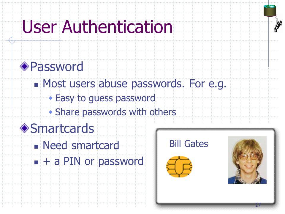 User Authentication Password Smartcards
