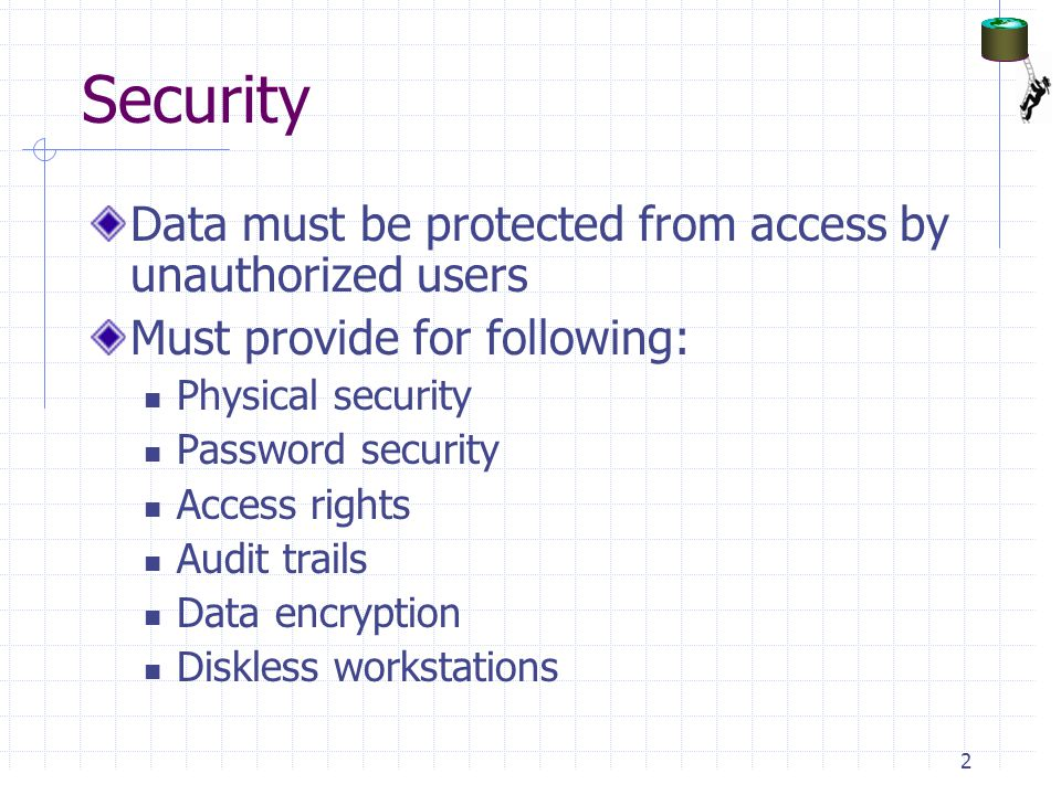 Security Data must be protected from access by unauthorized users
