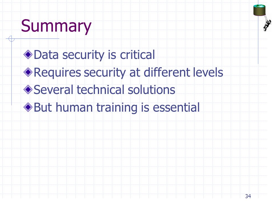 Summary Data security is critical