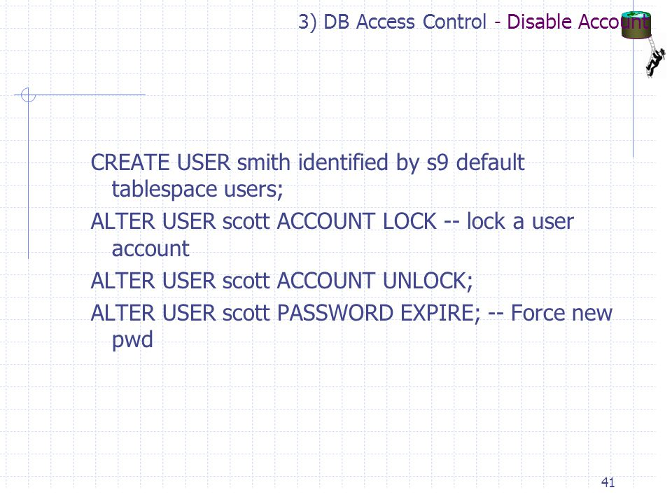 3) DB Access Control - Disable Account