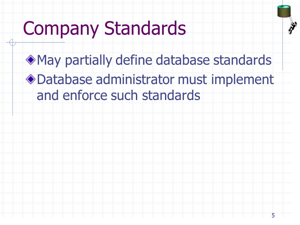 Company Standards May partially define database standards