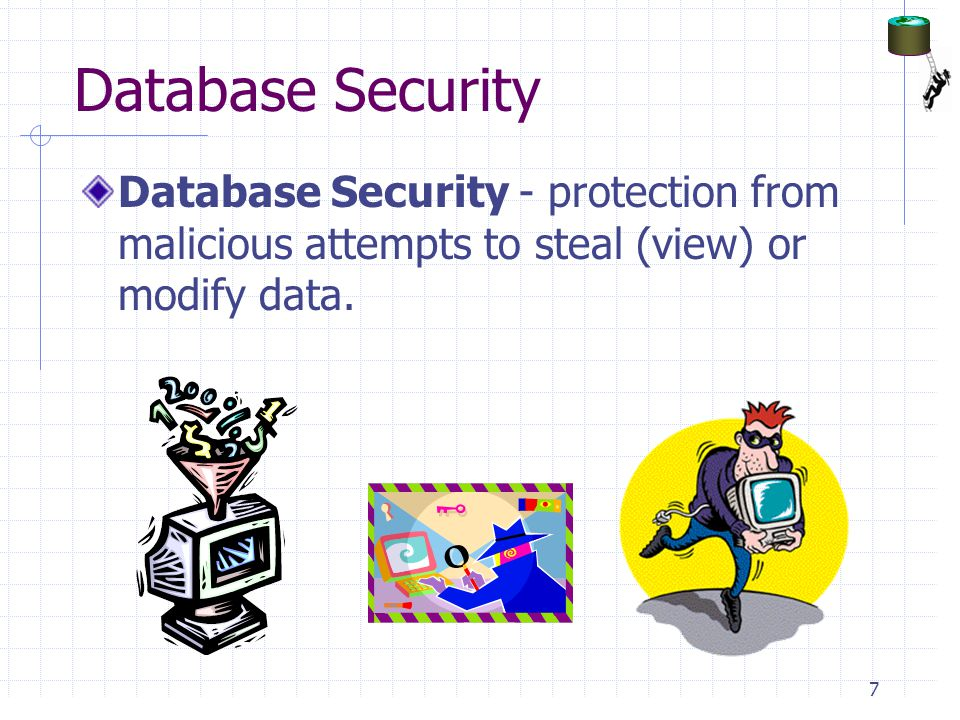 Database Security Database Security - protection from malicious attempts to steal (view) or modify data.