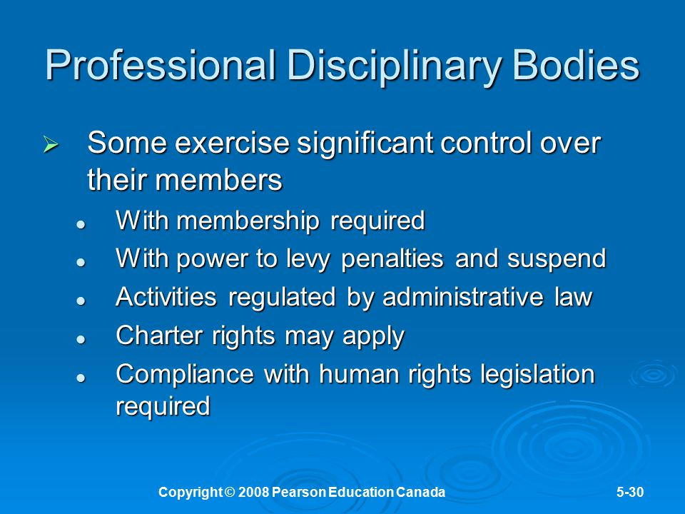 Professional Disciplinary Bodies