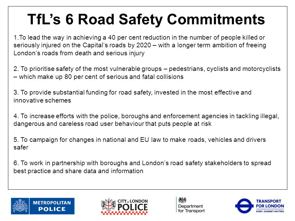 TfL's 6 Road Safety Commitments