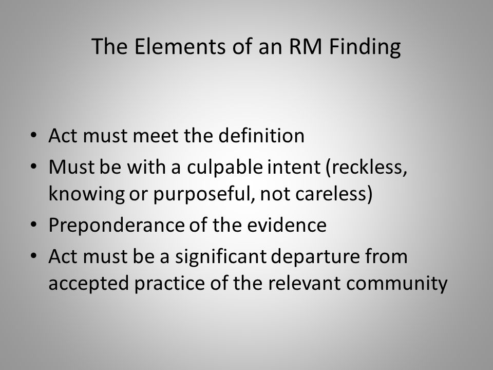 The Elements of an RM Finding