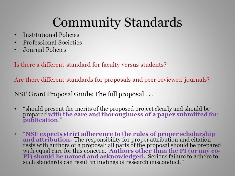 Community Standards NSF Grant Proposal Guide: The full proposal . . .