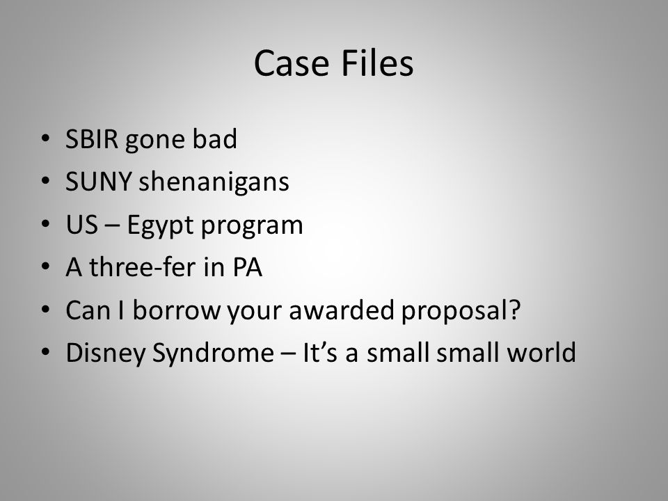 Case Files SBIR gone bad SUNY shenanigans US – Egypt program