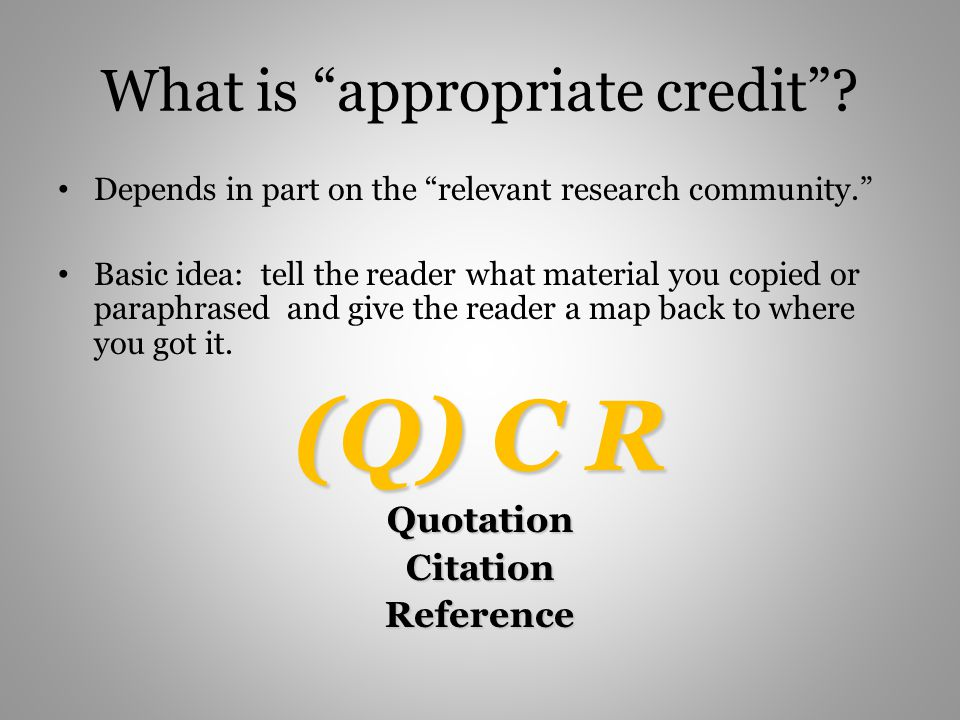 What is appropriate credit