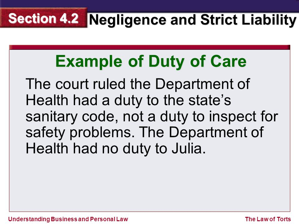 Example of Duty of Care