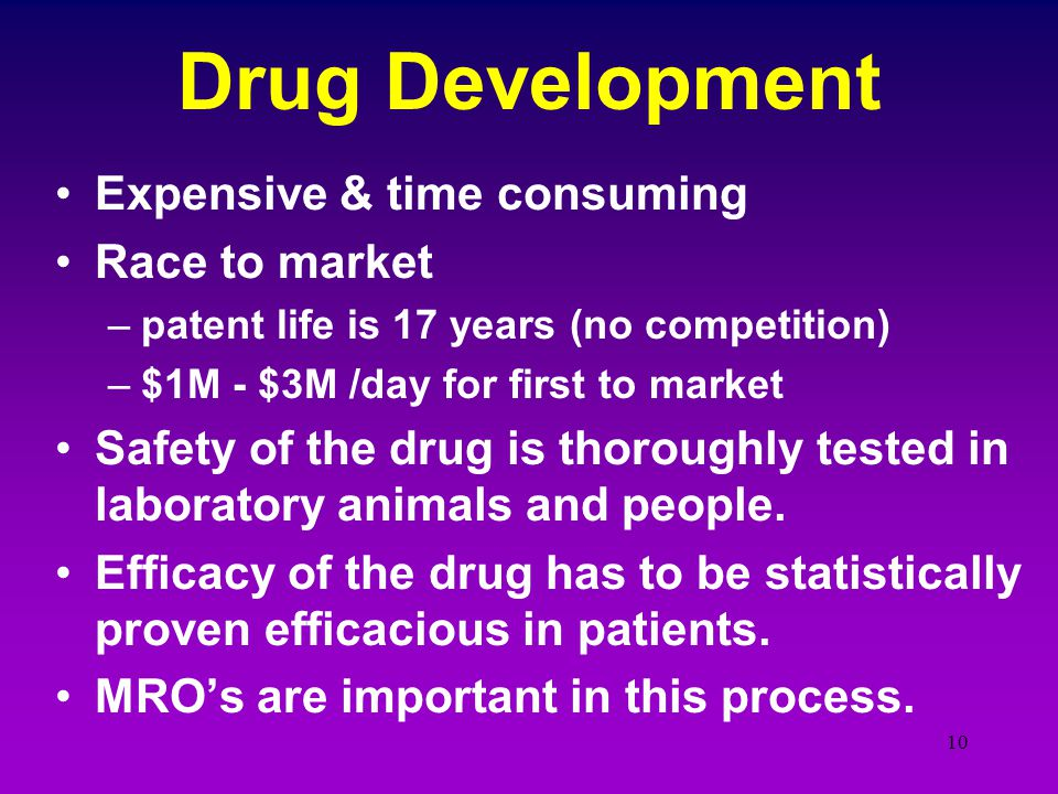 Drug Development Expensive & time consuming Race to market
