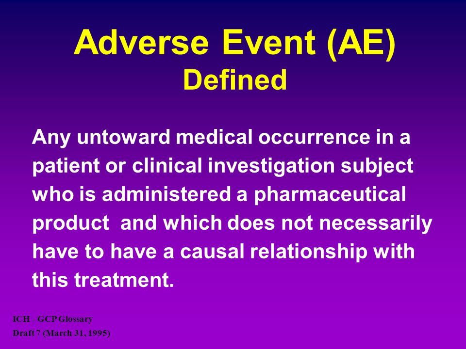 Adverse Event (AE) Defined