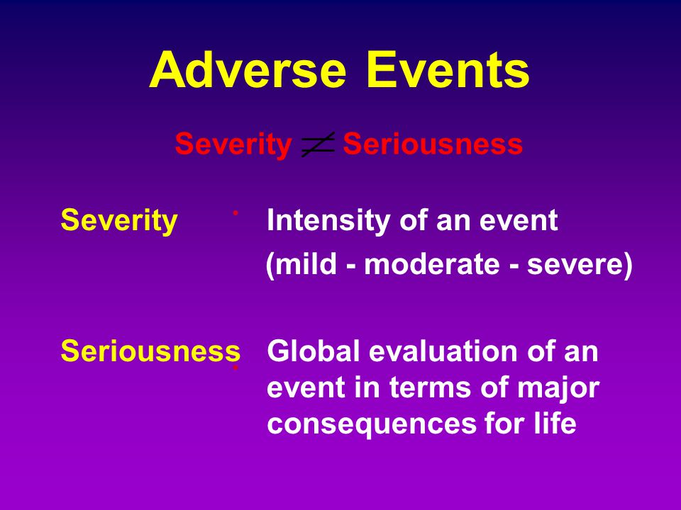 Adverse Events Severity Seriousness . Severity Intensity of an event