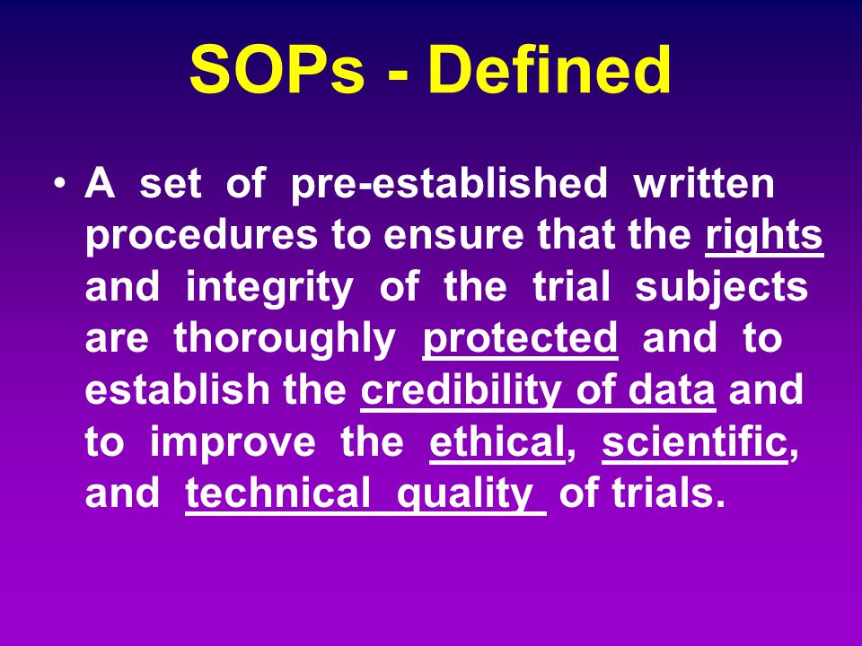 SOPs - Defined
