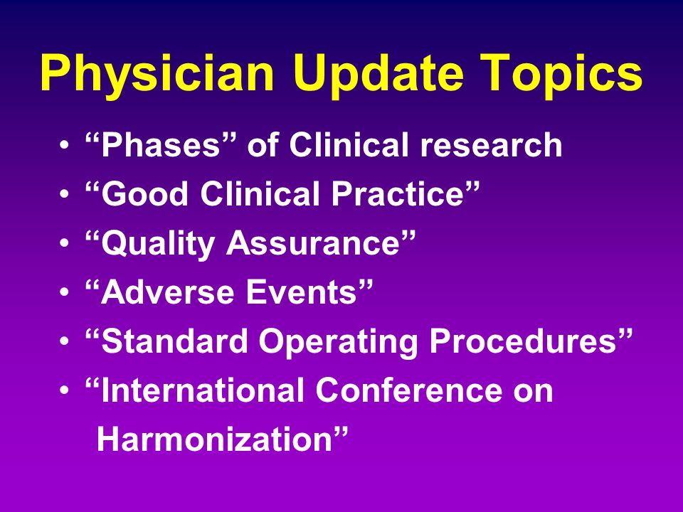 Physician Update Topics