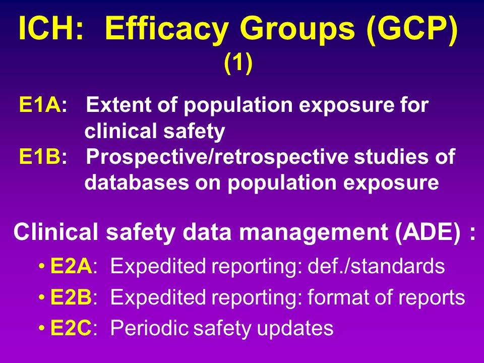 ICH: Efficacy Groups (GCP) (1)