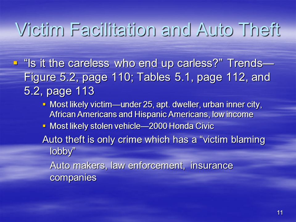 Victim Facilitation and Auto Theft