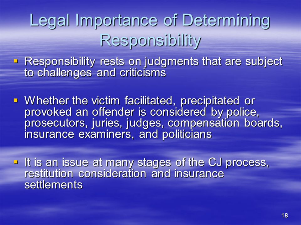 Legal Importance of Determining Responsibility