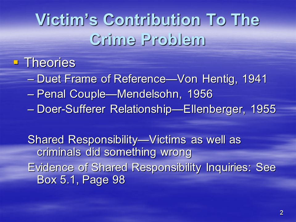Victim's Contribution To The Crime Problem