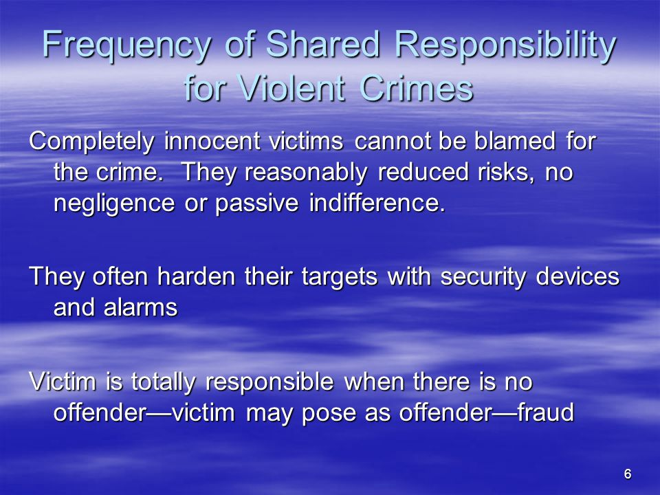 Frequency of Shared Responsibility for Violent Crimes