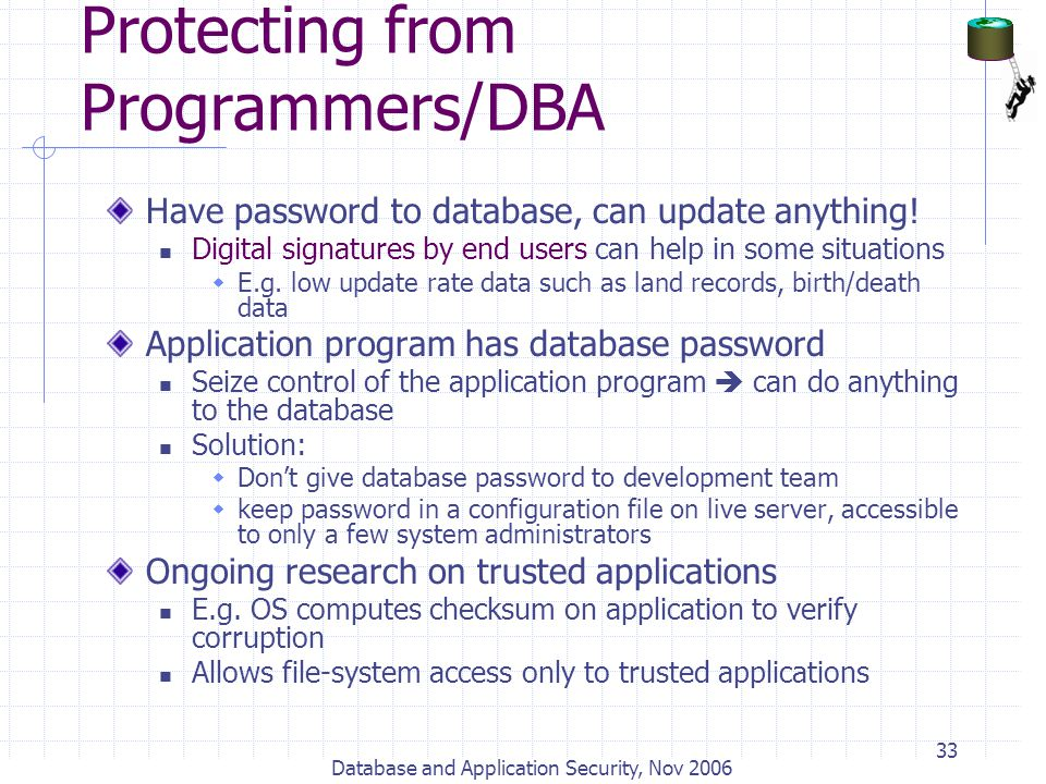 Protecting from Programmers/DBA