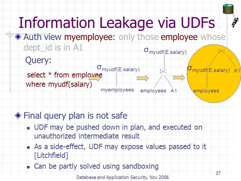 Information Leakage via UDFs