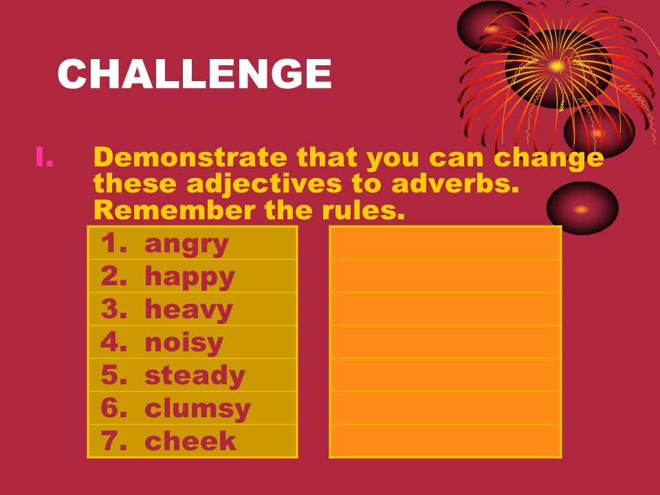 CHALLENGE Demonstrate that you can change these adjectives to adverbs. Remember the rules. angry. happy.