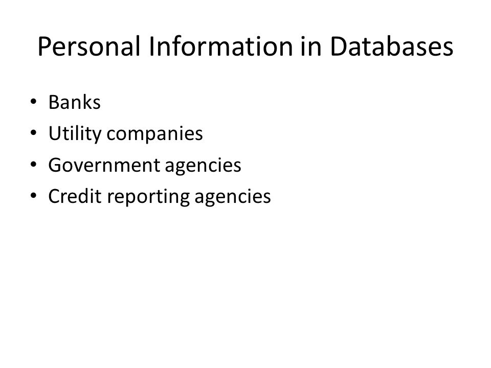 Personal Information in Databases