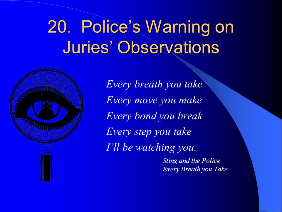 20. Police's Warning on Juries' Observations