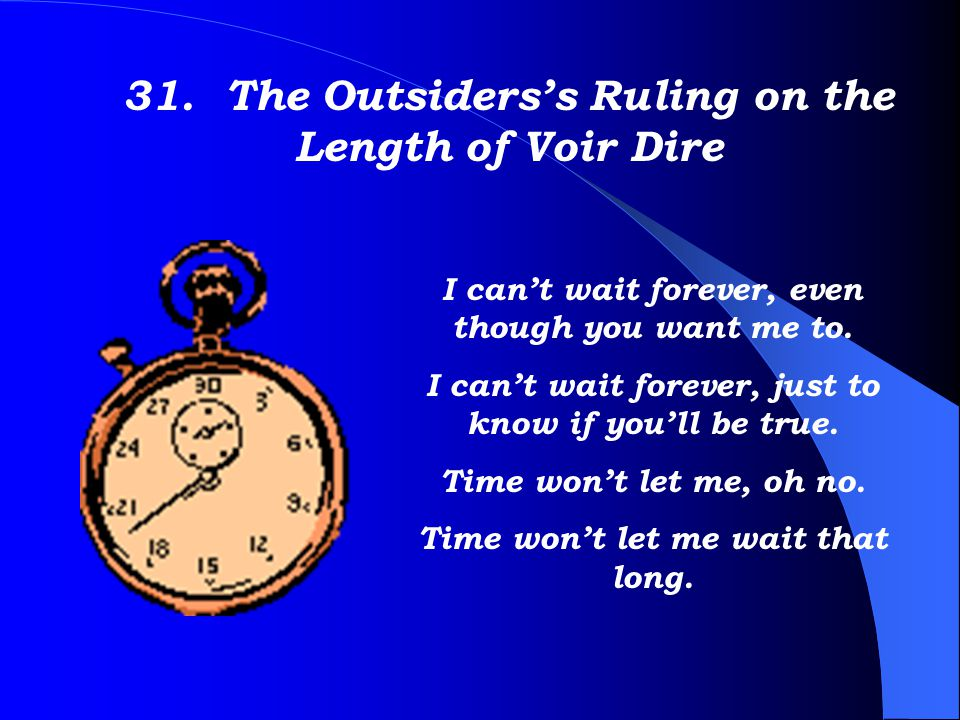 31. The Outsiders's Ruling on the Length of Voir Dire