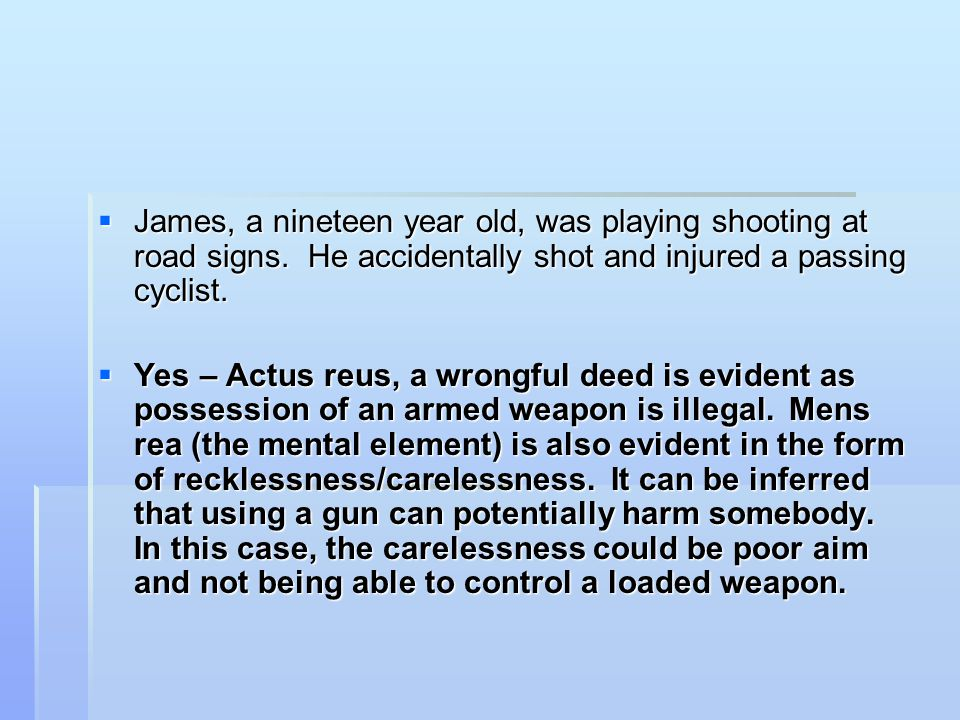 James, a nineteen year old, was playing shooting at road signs