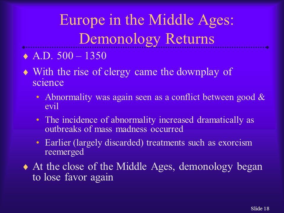 Europe in the Middle Ages: Demonology Returns