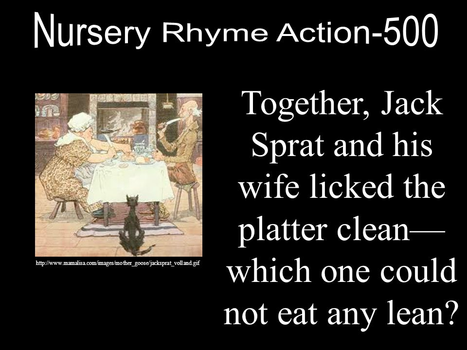Nursery Rhyme Action-500 Together, Jack Sprat and his wife licked the platter clean—which one could not eat any lean