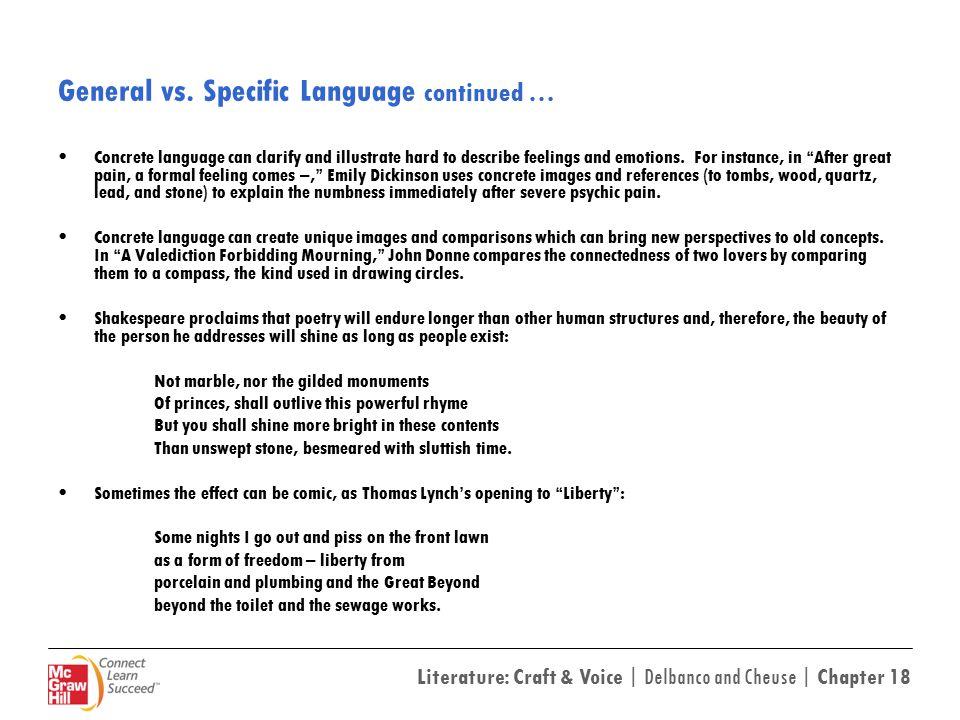 General vs. Specific Language continued …