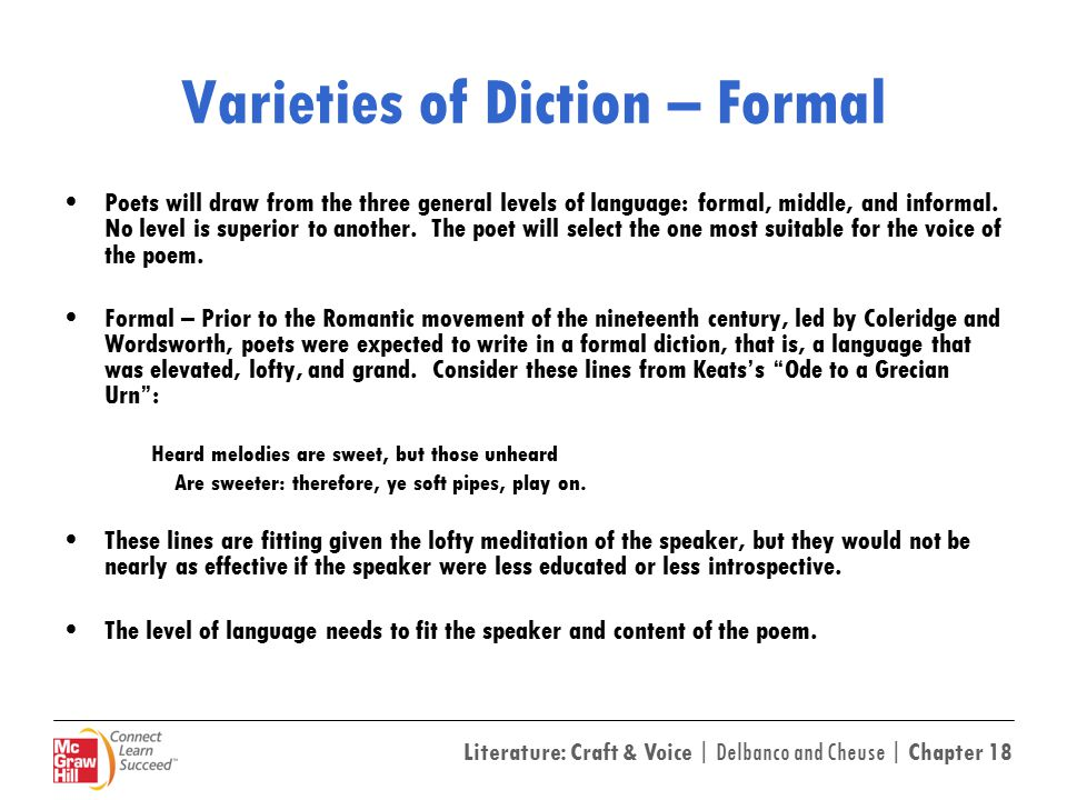 Varieties of Diction – Formal