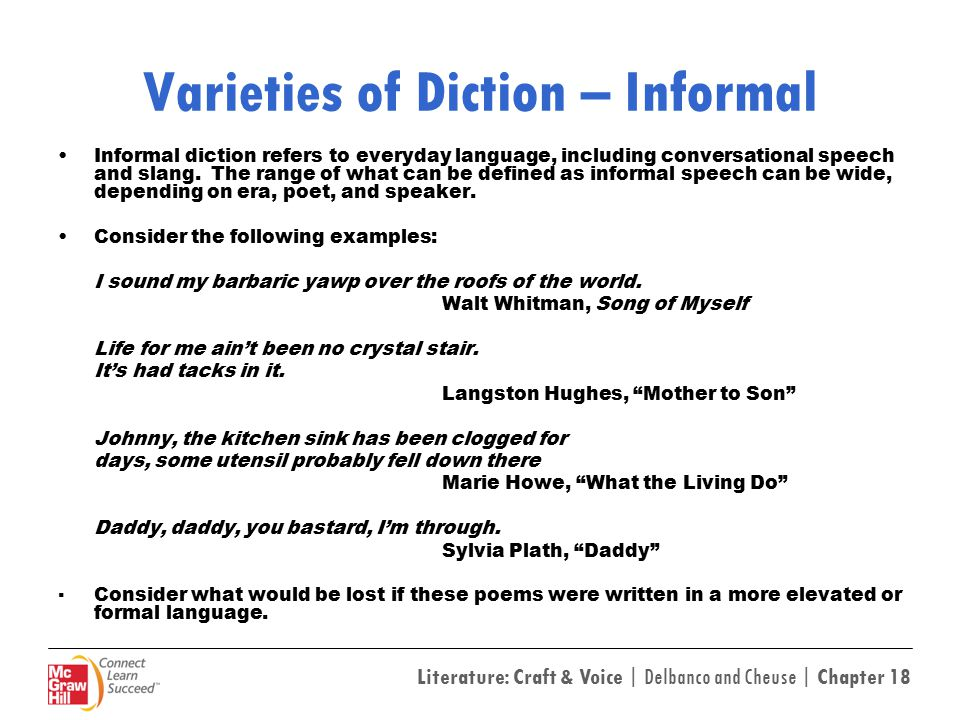Varieties of Diction – Informal