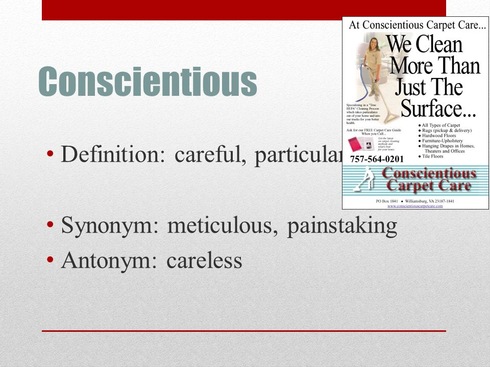 Conscientious Definition: careful, particular