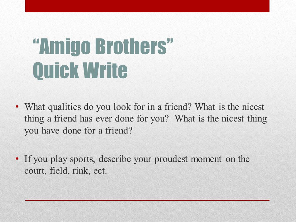 Amigo Brothers Quick Write