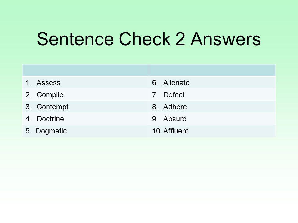 Sentence Check 2 Answers