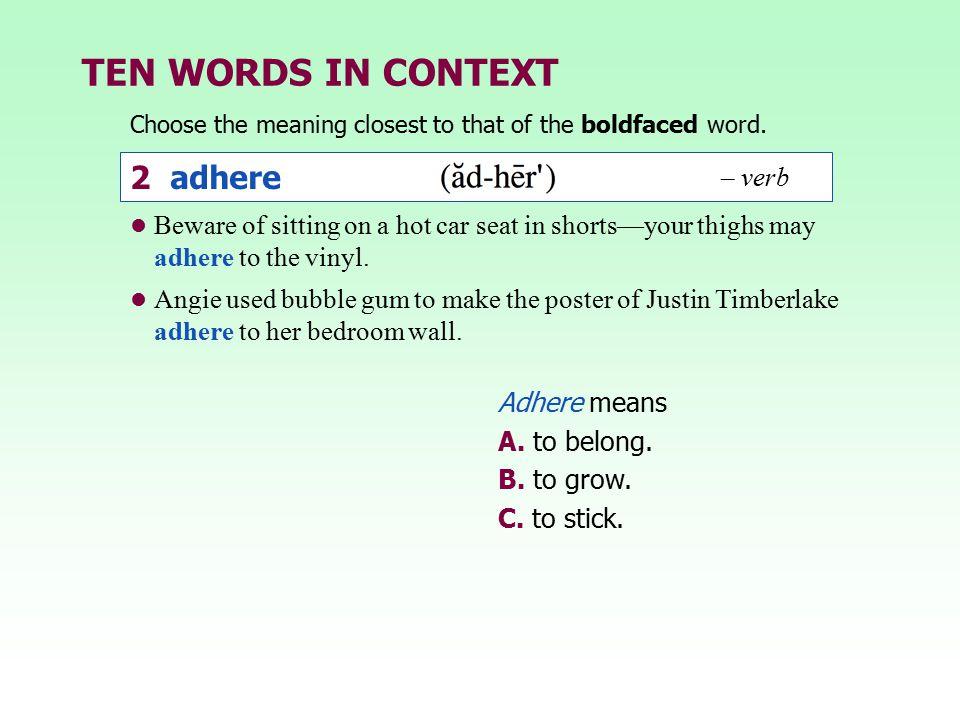TEN WORDS IN CONTEXT 2 adhere – verb