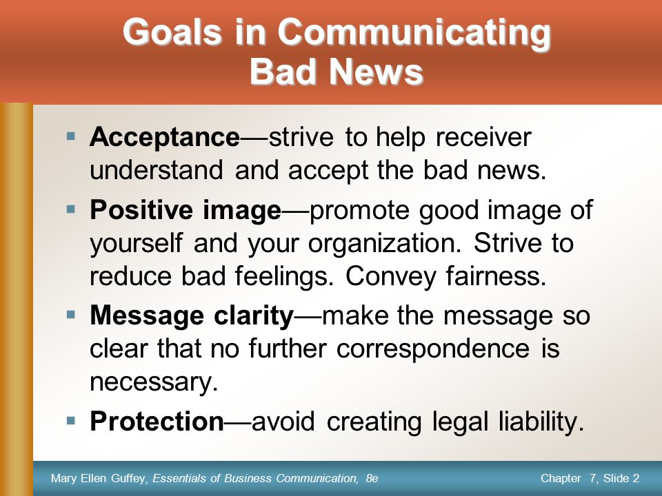 Goals in Communicating Bad News