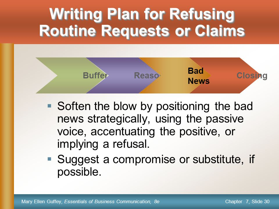 Writing Plan for Refusing Routine Requests or Claims