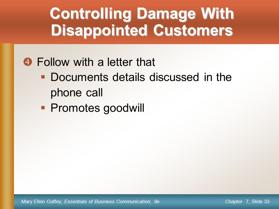 Controlling Damage With Disappointed Customers