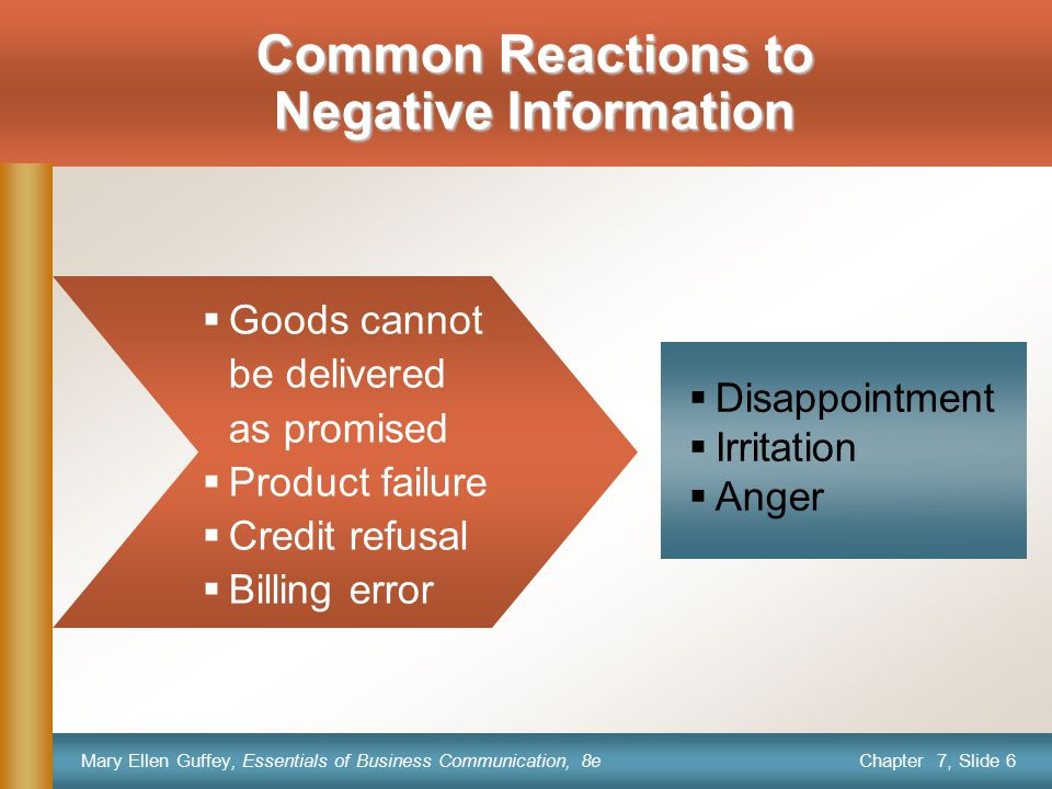 Common Reactions to Negative Information