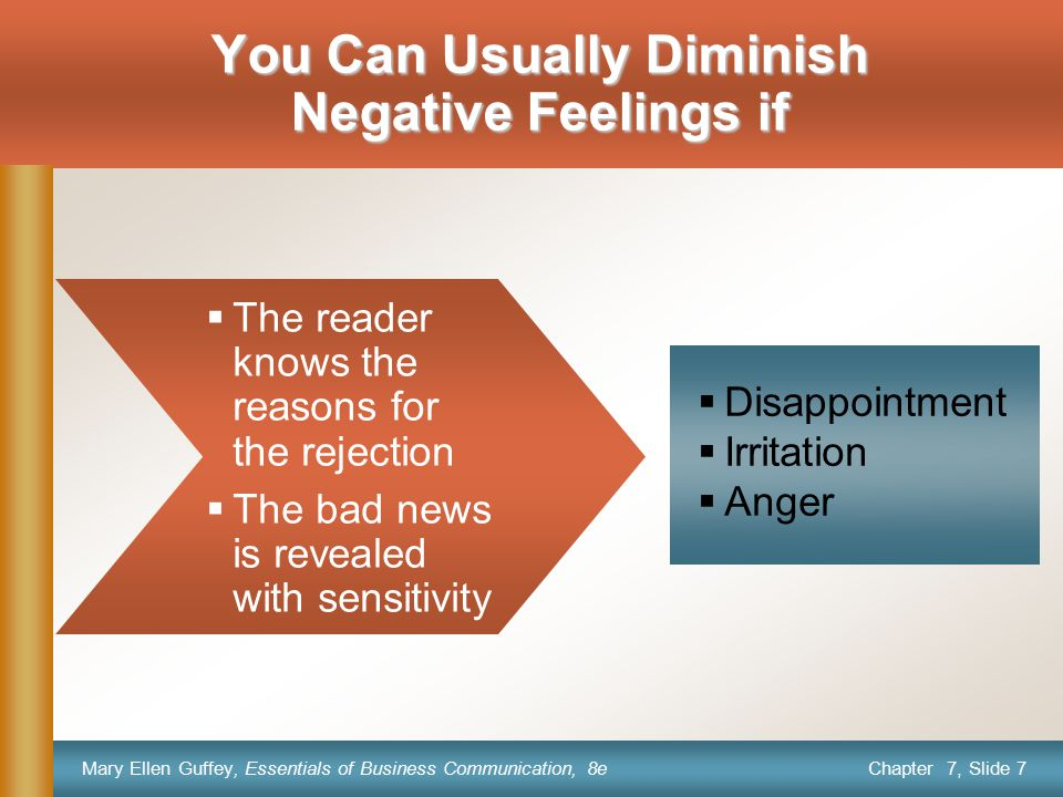 You Can Usually Diminish Negative Feelings if