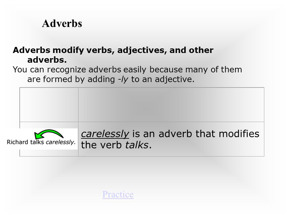 Adverbs carelessly is an adverb that modifies the verb talks. Practice