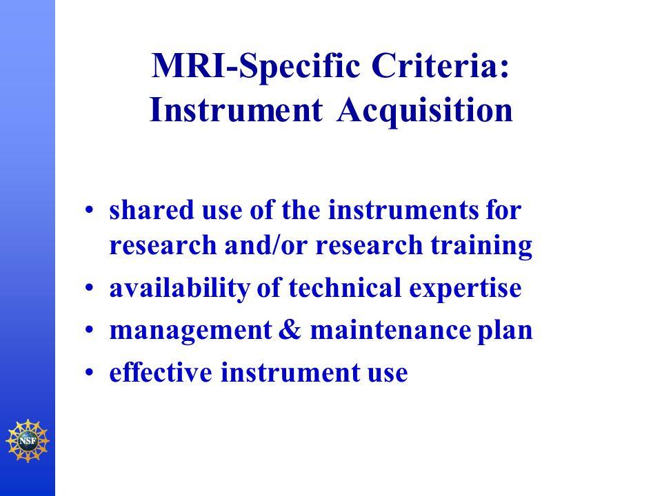 MRI-Specific Criteria: Instrument Acquisition