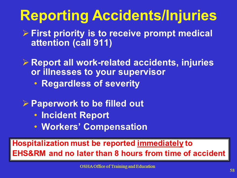 Reporting Accidents/Injuries