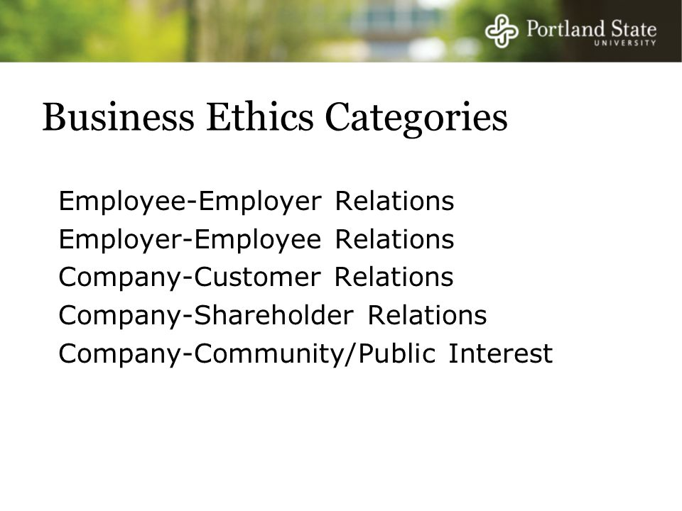 Business Ethics Categories