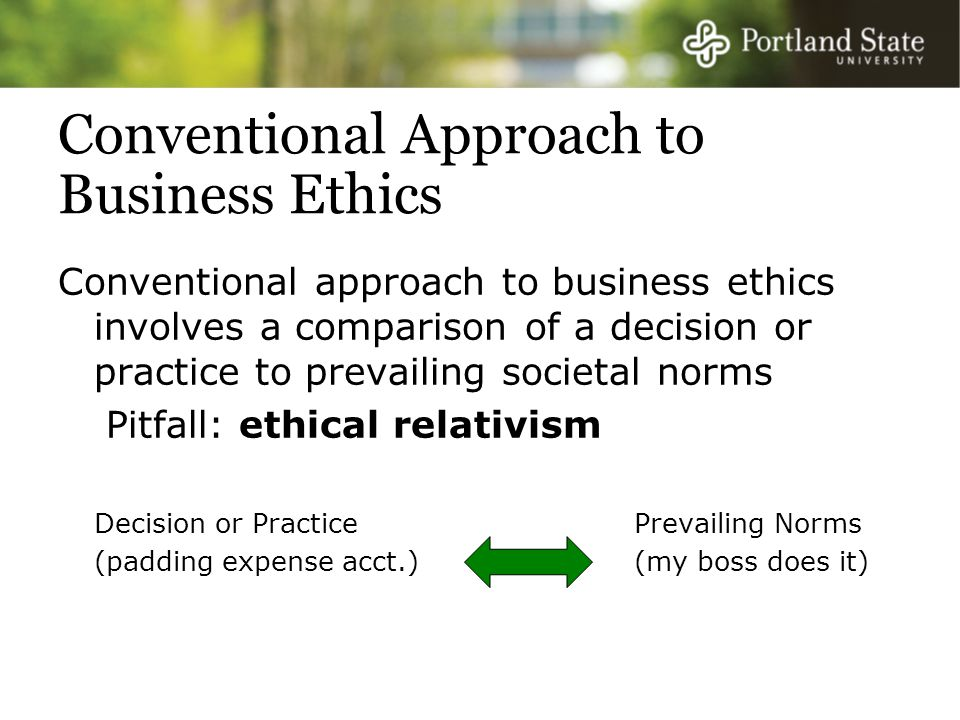 Conventional Approach to Business Ethics