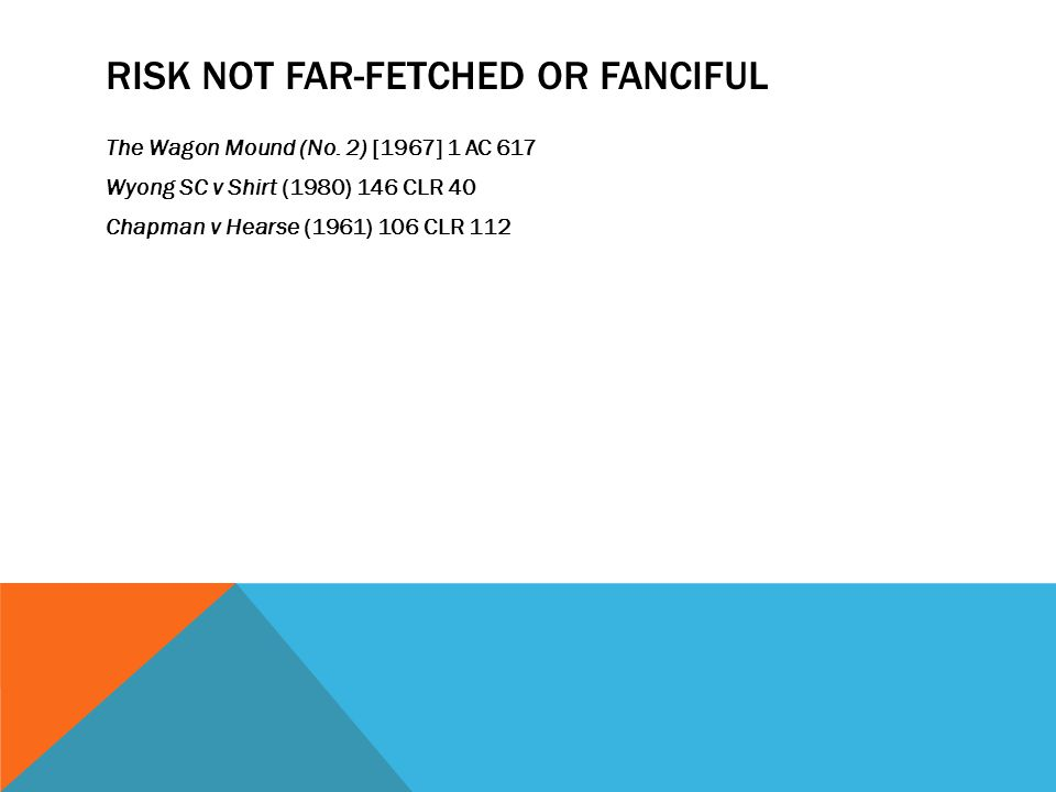 Risk not far-fetched or fanciful